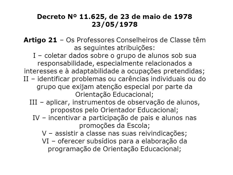 Decreto Nº 11.625, de 23 de maio de 1978 23/05/1978 Artigo 21 – Os Professores Conselheiros de Classe têm as seguintes atribuições: I – coletar dados