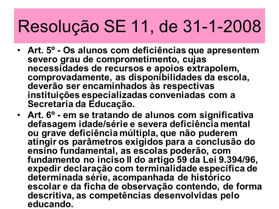 Resolução SE 11, de 31-1-2008 Art. 5º - Os alunos com deficiências que apresentem severo grau de comprometimento, cujas necessidades de recursos e apo