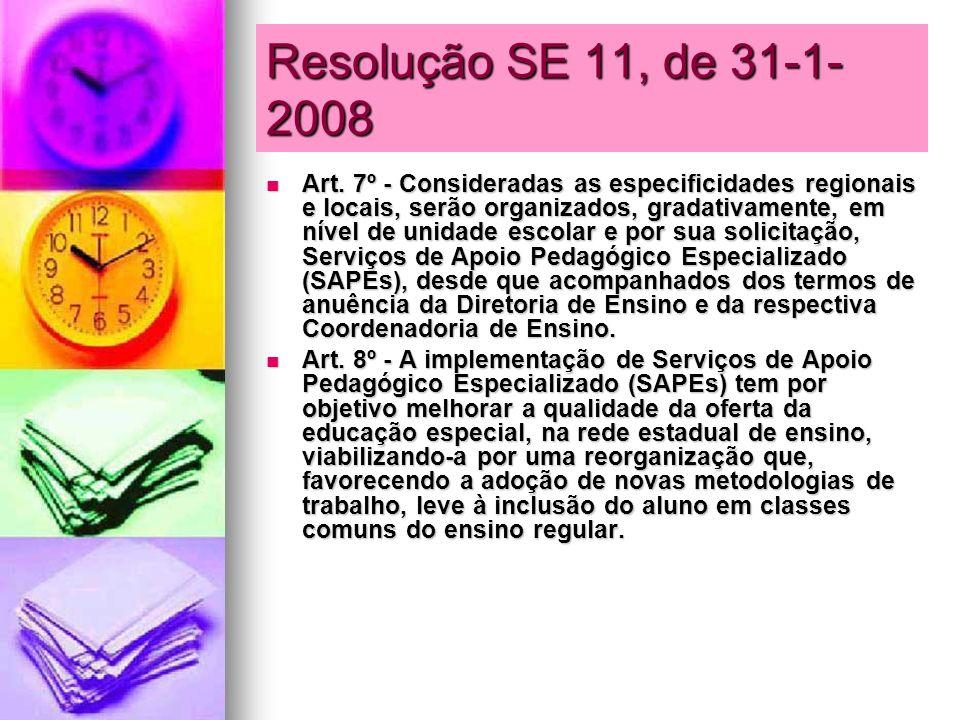 Resolução SE 11, de 31-1- 2008 Art. 7º - Consideradas as especificidades regionais e locais, serão organizados, gradativamente, em nível de unidade es