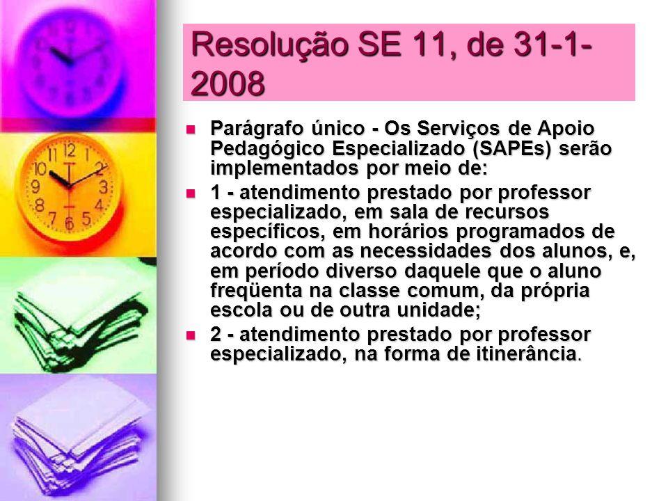 Resolução SE 11, de 31-1- 2008 Parágrafo único - Os Serviços de Apoio Pedagógico Especializado (SAPEs) serão implementados por meio de: Parágrafo únic