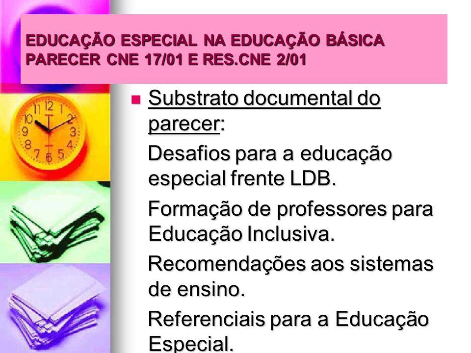 EDUCAÇÃO ESPECIAL NA EDUCAÇÃO BÁSICA PARECER CNE 17/01 E RES.CNE 2/01 Substrato documental do parecer: Substrato documental do parecer: Desafios para