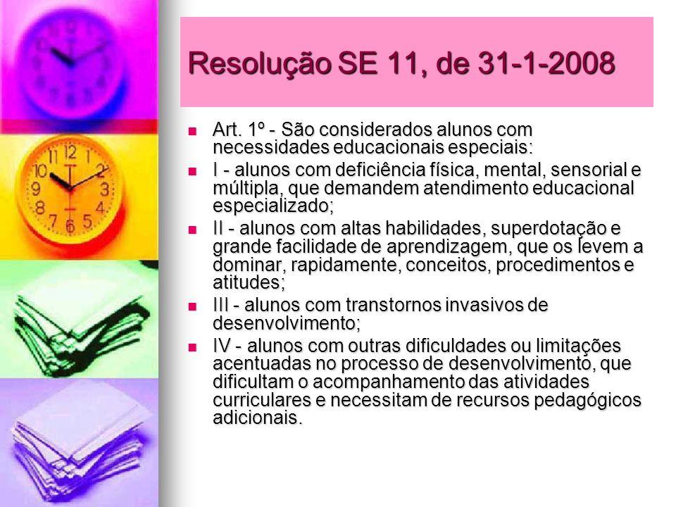 Resolução SE 11, de 31-1-2008 Art. 1º - São considerados alunos com necessidades educacionais especiais: Art. 1º - São considerados alunos com necessi