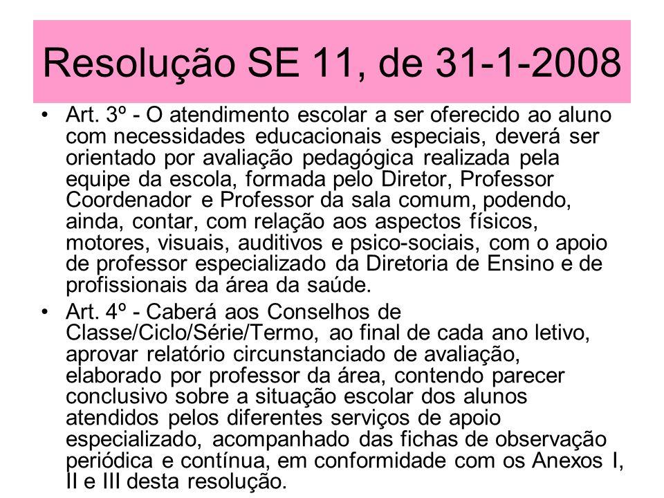 Resolução SE 11, de 31-1-2008 Art. 3º - O atendimento escolar a ser oferecido ao aluno com necessidades educacionais especiais, deverá ser orientado p