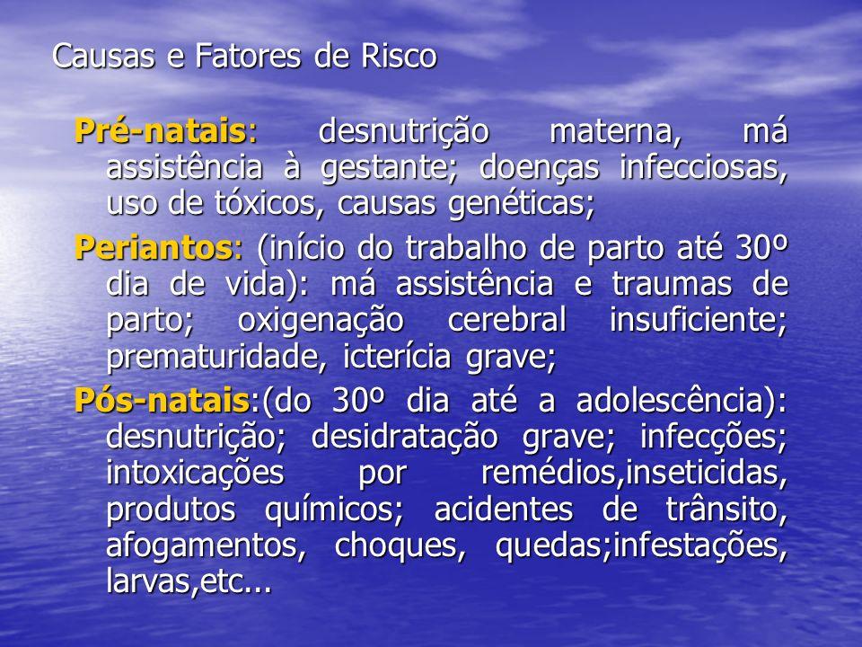 Causas e Fatores de Risco Pré-natais: desnutrição materna, má assistência à gestante; doenças infecciosas, uso de tóxicos, causas genéticas; Periantos