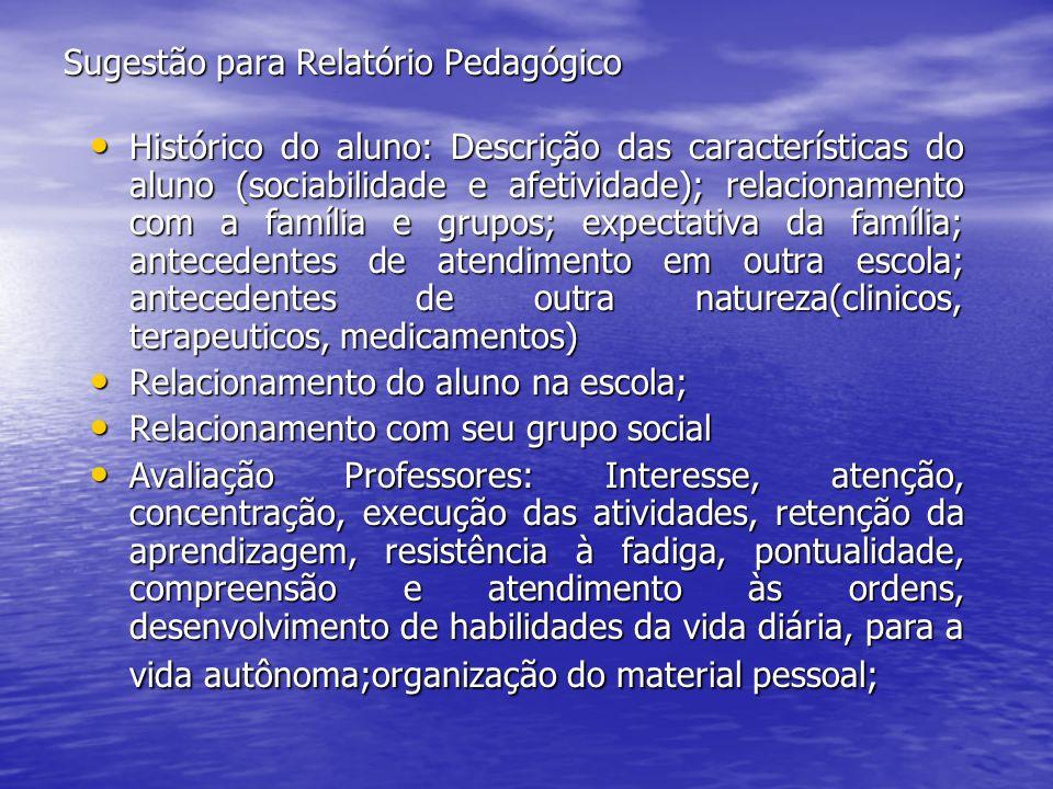 Sugestão para Relatório Pedagógico Histórico do aluno: Descrição das características do aluno (sociabilidade e afetividade); relacionamento com a famí