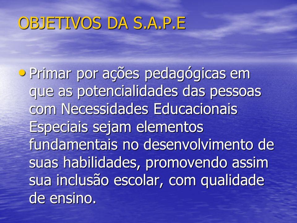 OBJETIVOS DA S.A.P.E Primar por ações pedagógicas em que as potencialidades das pessoas com Necessidades Educacionais Especiais sejam elementos fundam