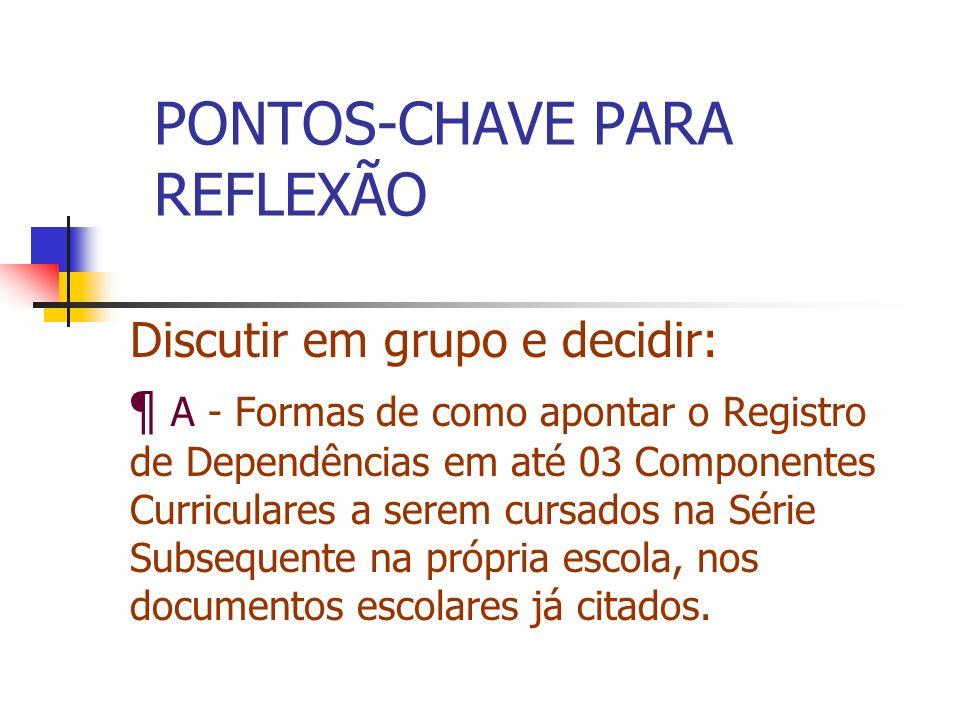 PONTOS-CHAVE PARA REFLEXÃO Discutir em grupo e decidir: ¶ A - Formas de como apontar o Registro de Dependências em até 03 Componentes Curriculares a s