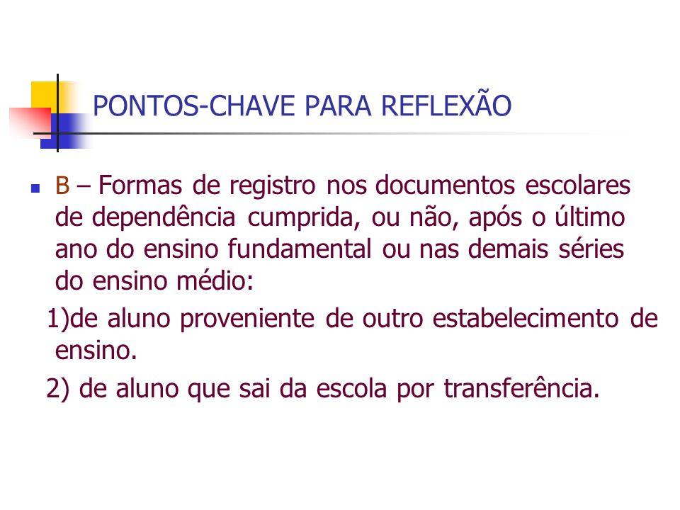 PONTOS-CHAVE PARA REFLEXÃO B – Formas de registro nos documentos escolares de dependência cumprida, ou não, após o último ano do ensino fundamental ou