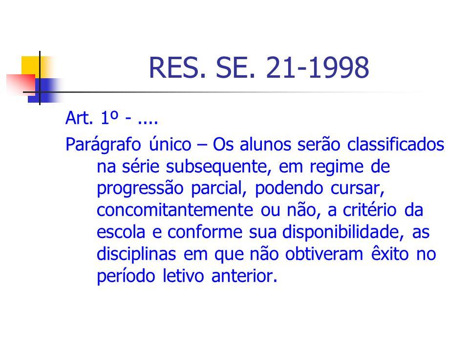 RES. SE. 21-1998 Art. 1º -.... Parágrafo único – Os alunos serão classificados na série subsequente, em regime de progressão parcial, podendo cursar,