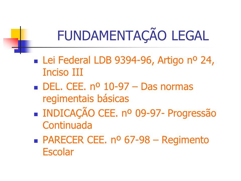 FUNDAMENTAÇÃO LEGAL Lei Federal LDB 9394-96, Artigo nº 24, Inciso III DEL. CEE. nº 10-97 – Das normas regimentais básicas INDICAÇÃO CEE. nº 09-97- Pro