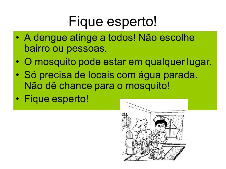 Fique esperto! A dengue atinge a todos! Não escolhe bairro ou pessoas. O mosquito pode estar em qualquer lugar. Só precisa de locais com água parada.