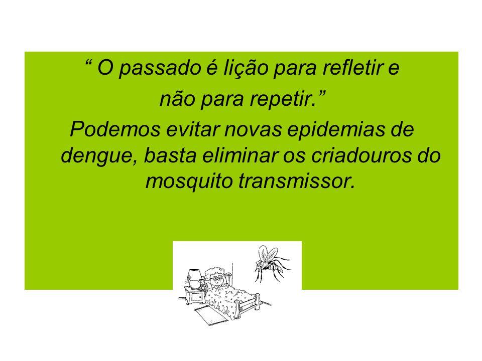 O passado é lição para refletir e não para repetir. Podemos evitar novas epidemias de dengue, basta eliminar os criadouros do mosquito transmissor.