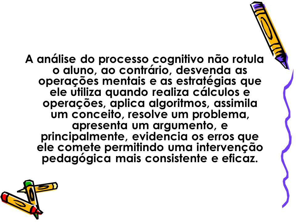 A análise do processo cognitivo não rotula o aluno, ao contrário, desvenda as operações mentais e as estratégias que ele utiliza quando realiza cálcul