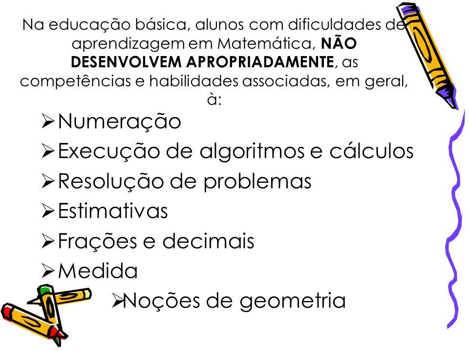 Na educação básica, alunos com dificuldades de aprendizagem em Matemática, NÃO DESENVOLVEM APROPRIADAMENTE, as competências e habilidades associadas,