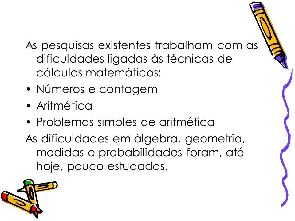 As pesquisas existentes trabalham com as dificuldades ligadas às técnicas de cálculos matemáticos: Números e contagem Aritmética Problemas simples de