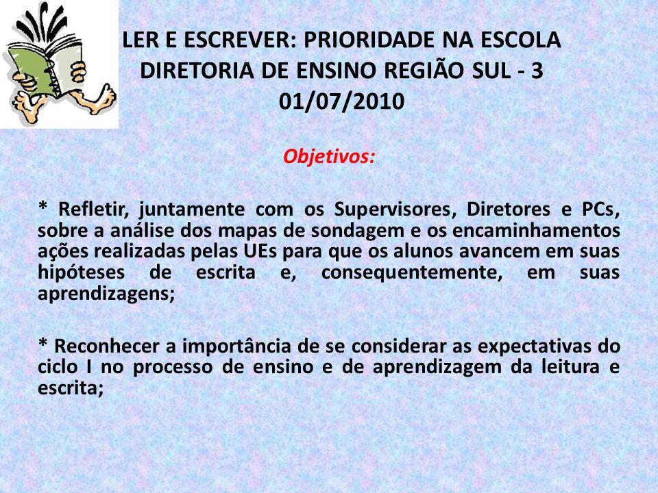 LER E ESCREVER: PRIORIDADE NA ESCOLA DIRETORIA DE ENSINO REGIÃO SUL - 3 01/07/2010 Objetivos: * Refletir, juntamente com os Supervisores, Diretores e