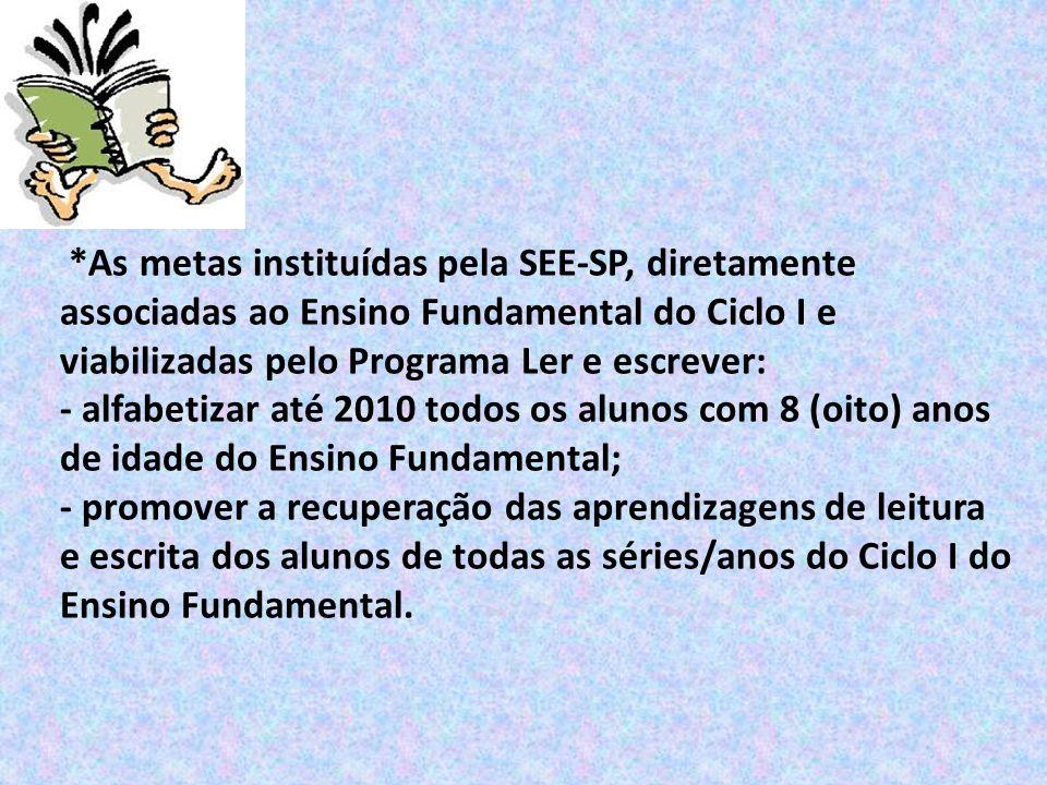 *As metas instituídas pela SEE-SP, diretamente associadas ao Ensino Fundamental do Ciclo I e viabilizadas pelo Programa Ler e escrever: - alfabetizar