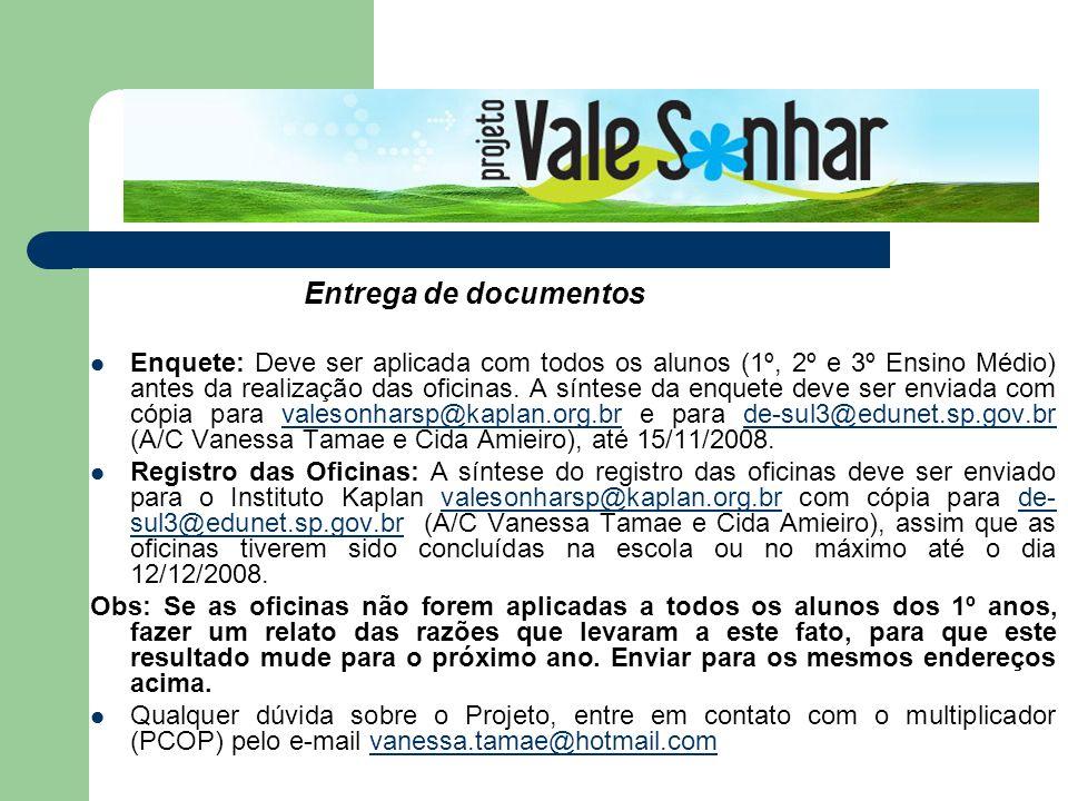 Entrega de documentos Enquete: Deve ser aplicada com todos os alunos (1º, 2º e 3º Ensino Médio) antes da realização das oficinas. A síntese da enquete