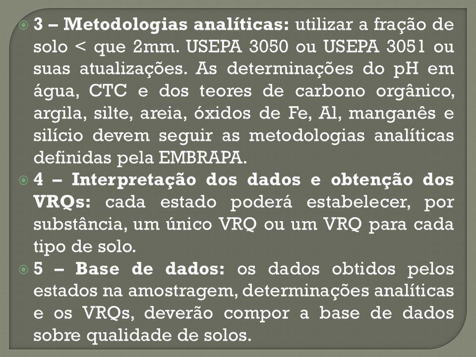 3 – Metodologias analíticas: utilizar a fração de solo < que 2mm.