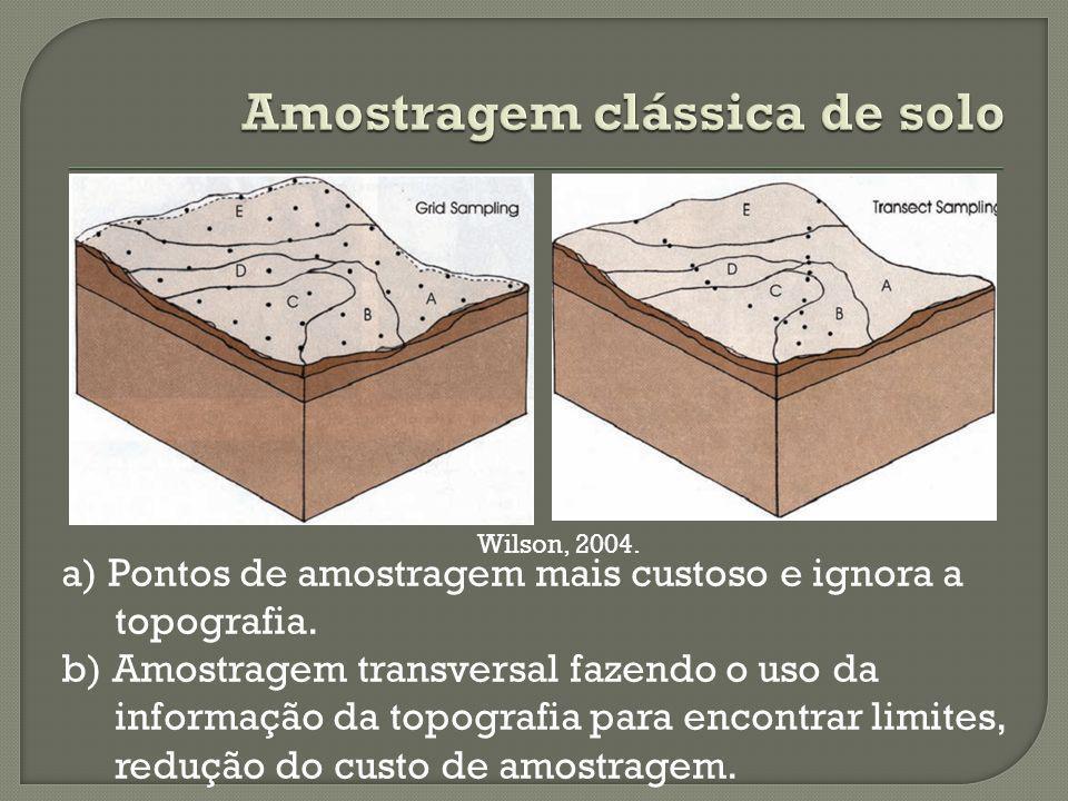 a) Pontos de amostragem mais custoso e ignora a topografia.