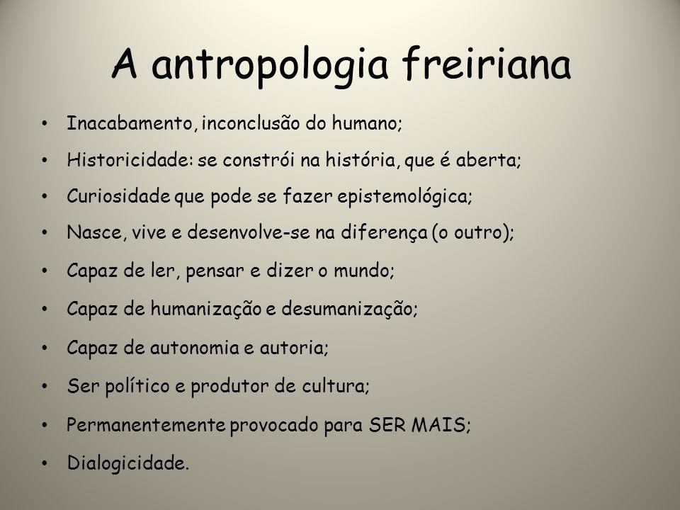 A antropologia freiriana Inacabamento, inconclusão do humano; Historicidade: se constrói na história, que é aberta; Curiosidade que pode se fazer epis