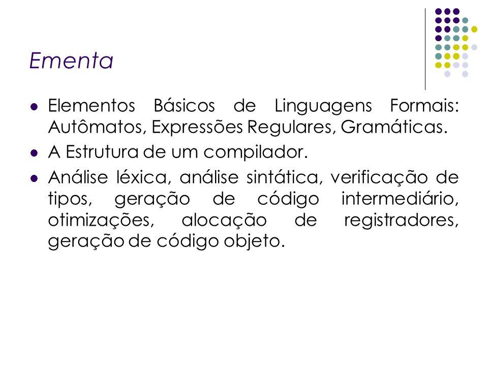 Ementa Elementos Básicos de Linguagens Formais: Autômatos, Expressões Regulares, Gramáticas. A Estrutura de um compilador. Análise léxica, análise sin