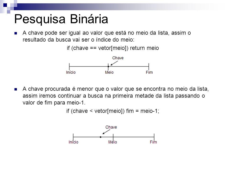 Pesquisa Binária A chave pode ser igual ao valor que está no meio da lista, assim o resultado da busca vai ser o índice do meio: if (chave == vetor[me