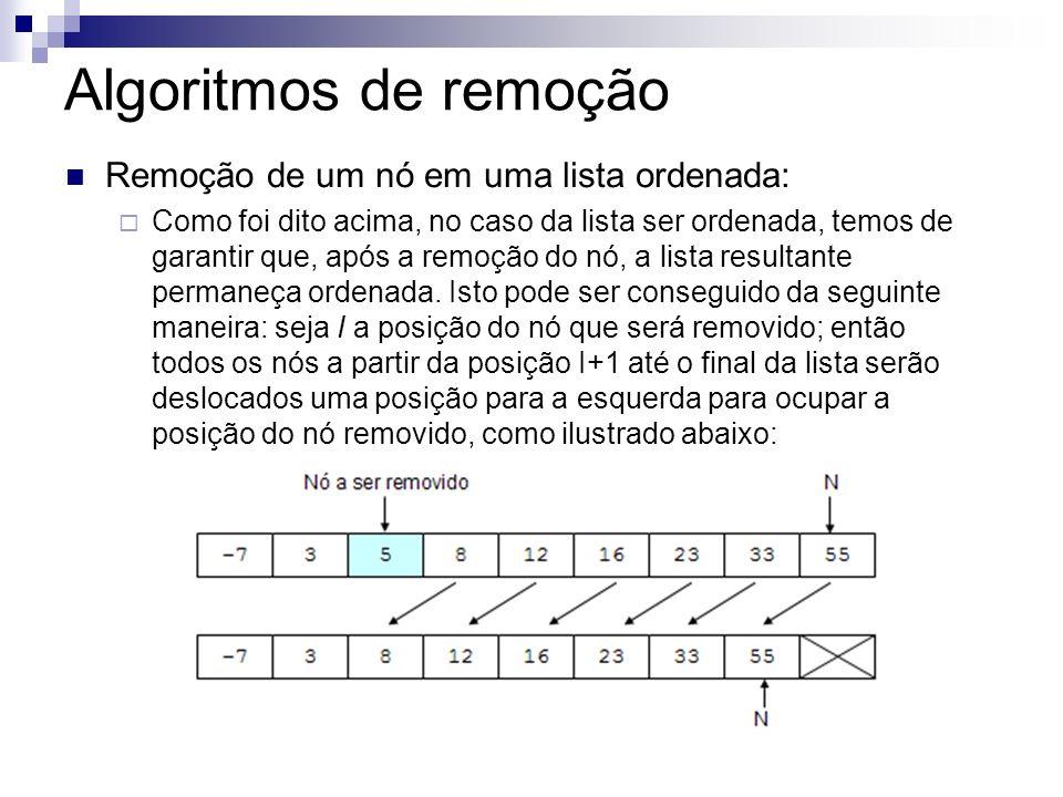 Algoritmos de remoção Remoção de um nó em uma lista ordenada: Como foi dito acima, no caso da lista ser ordenada, temos de garantir que, após a remoçã