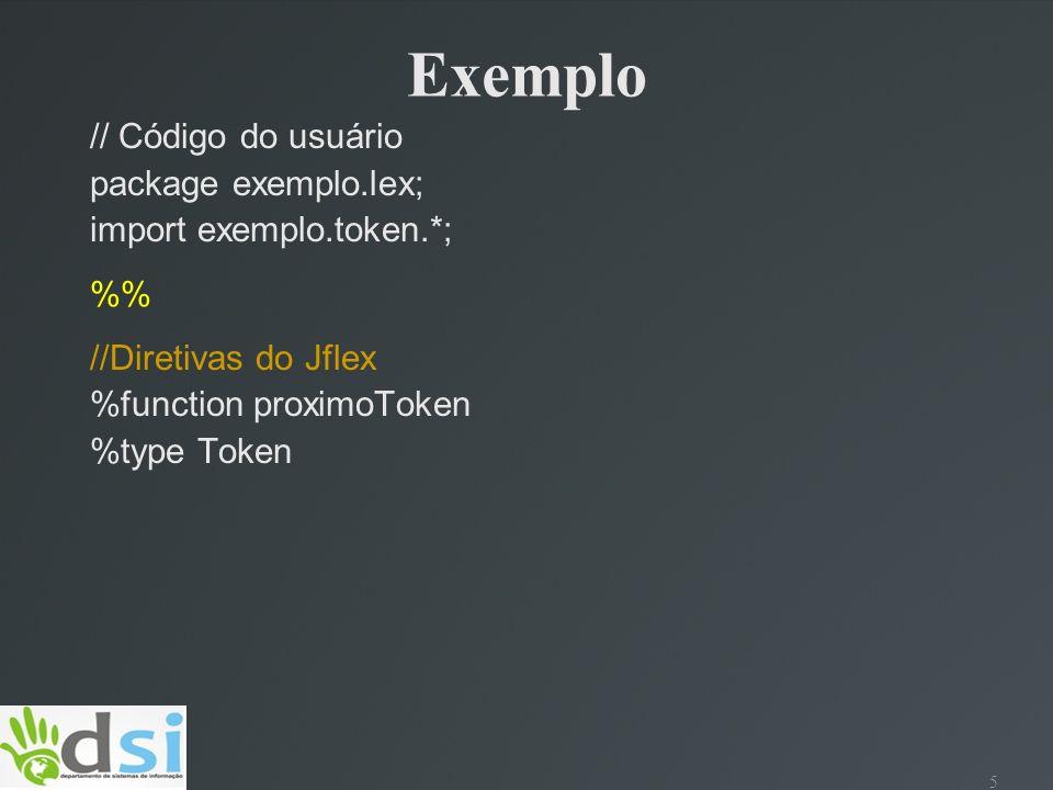 6 Exemplo //Código incluído a classe do parser.