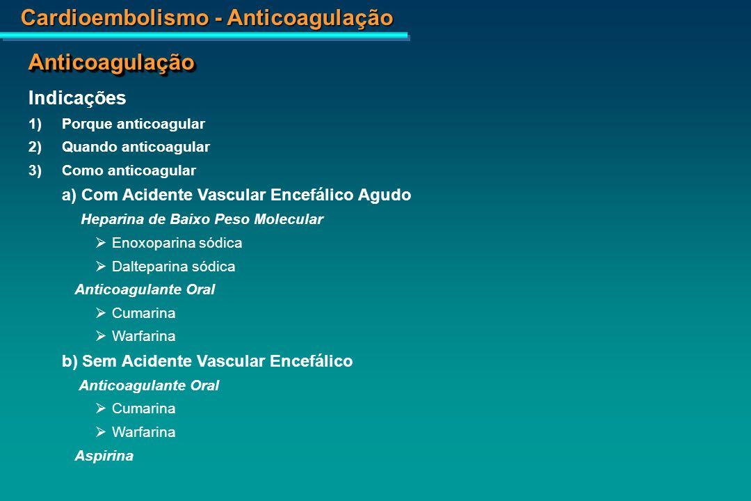 Cardioembolismo - Anticoagulação RNM – AVE temporal direito.