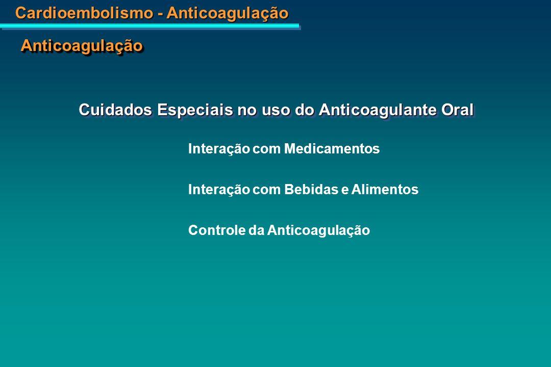 Cardioembolismo - Anticoagulação AnticoagulaçãoAnticoagulação Interação Medicamentosa Drogas que potencializam o efeito do anticoagulante oral Acetaminofen Acetaminofen AAS AAS Cimetidina Cimetidina Ciprofloxacina Ciprofloxacina Eritromicina Eritromicina Fenitoina Fenitoina Fluconazo Fluconazo Hidrato de Cloral Hidrato de Cloral Isoniazida Isoniazida Lovastatina Lovastatina Acetaminofen Acetaminofen AAS AAS Cimetidina Cimetidina Ciprofloxacina Ciprofloxacina Eritromicina Eritromicina Fenitoina Fenitoina Fluconazo Fluconazo Hidrato de Cloral Hidrato de Cloral Isoniazida Isoniazida Lovastatina Lovastatina Metronizadol Metronizadol Miconazol Miconazol Norfloxacina Norfloxacina Ofloxacina Ofloxacina Cineprazol Cineprazol Propranolol Propranolol Quinidina Quinidina Sinvastatina Sinvastatina Tamoxifeno Tamoxifeno Tetraciclina Tetraciclina Metronizadol Metronizadol Miconazol Miconazol Norfloxacina Norfloxacina Ofloxacina Ofloxacina Cineprazol Cineprazol Propranolol Propranolol Quinidina Quinidina Sinvastatina Sinvastatina Tamoxifeno Tamoxifeno Tetraciclina Tetraciclina