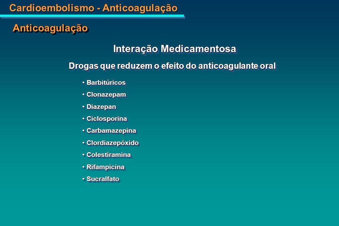 Cardioembolismo - Anticoagulação AnticoagulaçãoAnticoagulação Quantidade relativa de Vitamina K com bedidas Interação com Alimentos