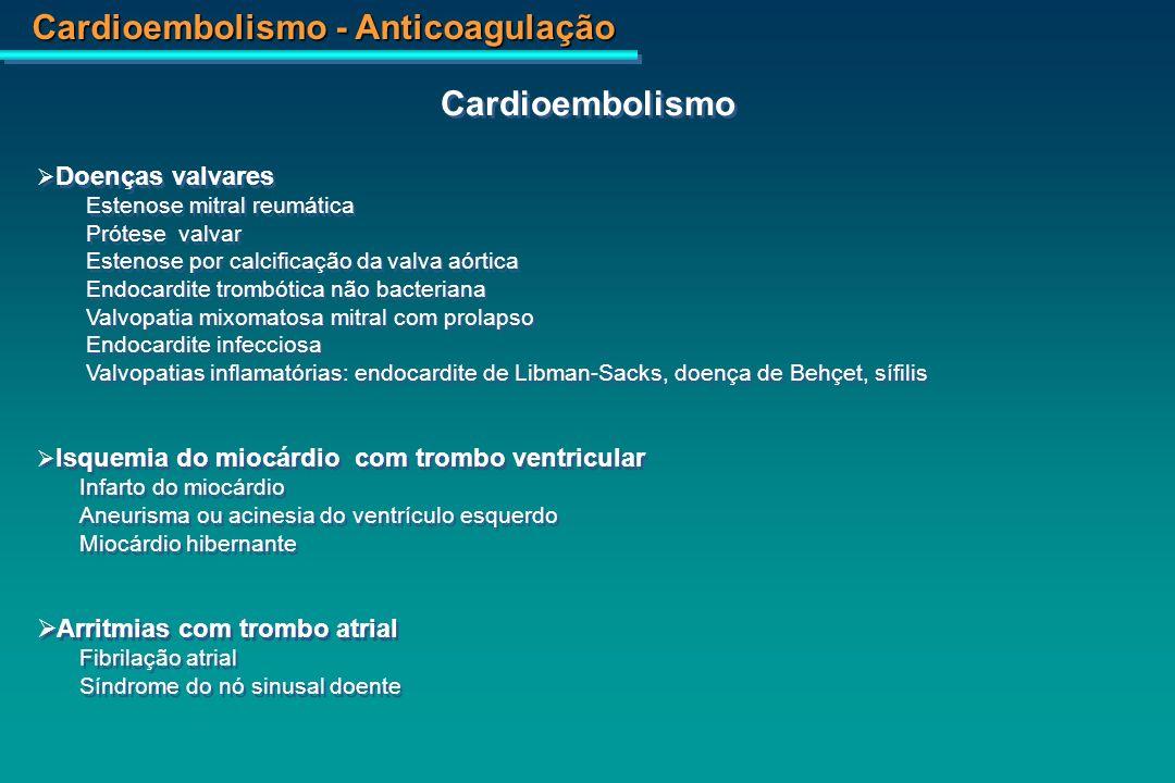 Cardioembolismo - Anticoagulação Cardiomiopatia dilatada não isquêmica Hipertrofia com dilataçãoTraumatismo cardíaco AmiloidoseHipereosinofilia Miocardite reumáticaSarcoidose Doenças neuromuscularesAlcoólica Induzida por catecolaminasDoença de Chagas Usuários de cocaína e crackIdiopatica ViralEchinococcosis Periparto Trombo intracardíaco relacionado a estados protrombóticos Doença policística Doenças mieloproliferativas e trombocitose Doença maligna Anticorpos antifosfolipides Cardiomiopatia dilatada não isquêmica Hipertrofia com dilataçãoTraumatismo cardíaco AmiloidoseHipereosinofilia Miocardite reumáticaSarcoidose Doenças neuromuscularesAlcoólica Induzida por catecolaminasDoença de Chagas Usuários de cocaína e crackIdiopatica ViralEchinococcosis Periparto Trombo intracardíaco relacionado a estados protrombóticos Doença policística Doenças mieloproliferativas e trombocitose Doença maligna Anticorpos antifosfolipides Cardioembolismo