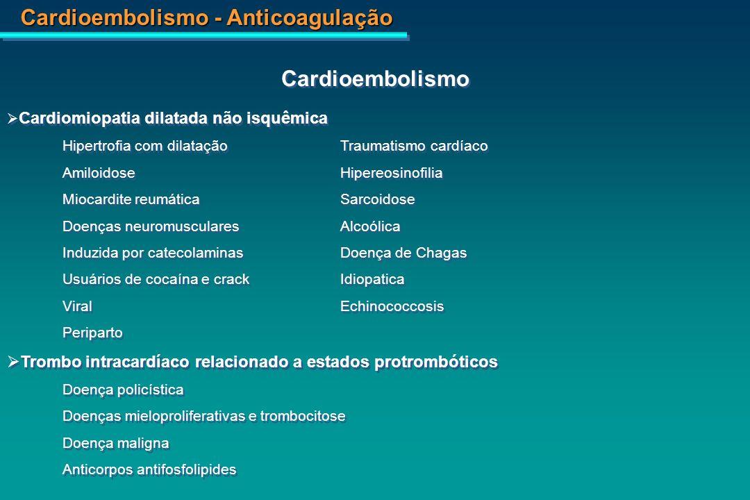 Cardioembolismo - Anticoagulação Tumores cardíacos Primário Metastático Êmbolo paradoxical Defeitos do septo atrial Forame oval Defeitos do septo ventricular Fístulas pulmonares arteriovenosas Origens diversas Aneurisma do septo atrial Valvoplastia e cateterismo cardíaco Adaptado de: Hart RG.