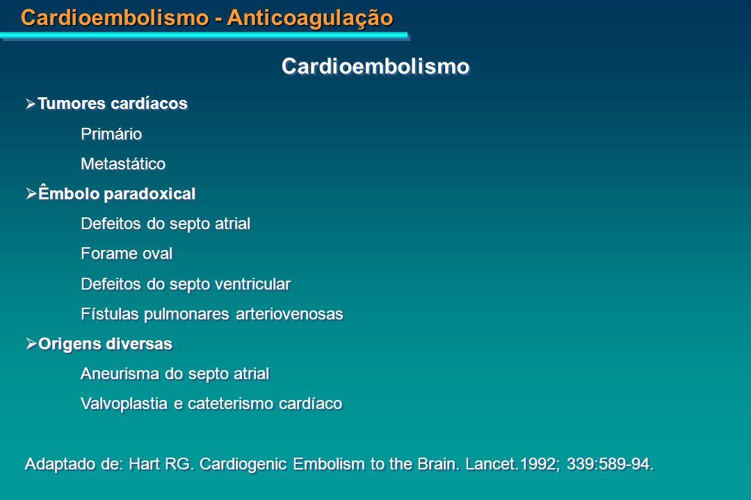 Cardioembolismo - Anticoagulação Fontes Cardíacas de AVC embolico Fontes Cardíacas de AVC embolico Origem Porcentagem Risco de AVC na população Fibrilação atrial 45 5% por ano Infarto agudo do miocárdio 15 3% dentro de 4 semanas Aneurisma ventricular 10 5% de prevalência Doença cardíaca reumática 10 20% de prevalência Prótese valvar 10 1-4% por ano Outras causas menos frequentes Prolapso da vávula mitral Calcificação do anel mitral Endocardite trombótica não-bacteriana Estenose por calcificação da aorta Mixoma cardíaco Embolia paradoxal e cardiopatias congênitas do coração Cardiomiopatia dilatada não isquêmica Endocardite infecciosa Outras causas menos frequentes Prolapso da vávula mitral Calcificação do anel mitral Endocardite trombótica não-bacteriana Estenose por calcificação da aorta Mixoma cardíaco Embolia paradoxal e cardiopatias congênitas do coração Cardiomiopatia dilatada não isquêmica Endocardite infecciosa 10 Adaptado de: Cerebral Embolism Task Force.