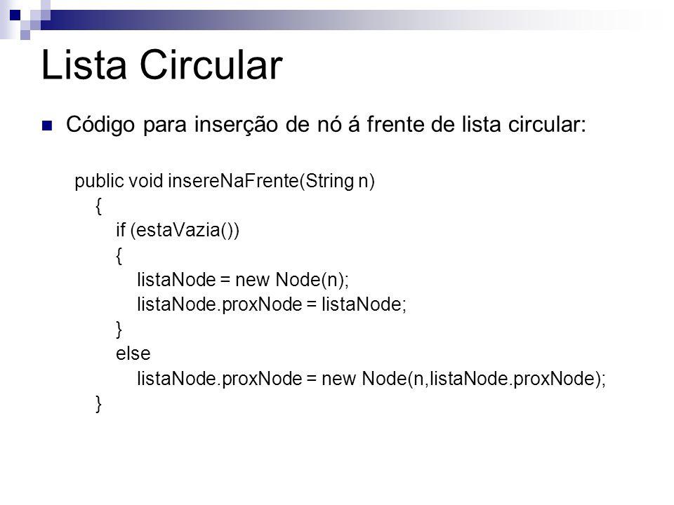 Lista Circular Código para inserção de nó á frente de lista circular: public void insereNaFrente(String n) { if (estaVazia()) { listaNode = new Node(n