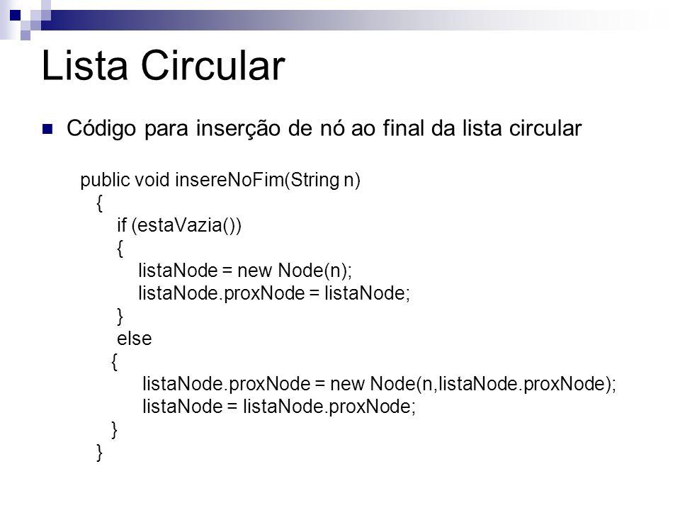Lista Circular Código para inserção de nó ao final da lista circular public void insereNoFim(String n) { if (estaVazia()) { listaNode = new Node(n); l
