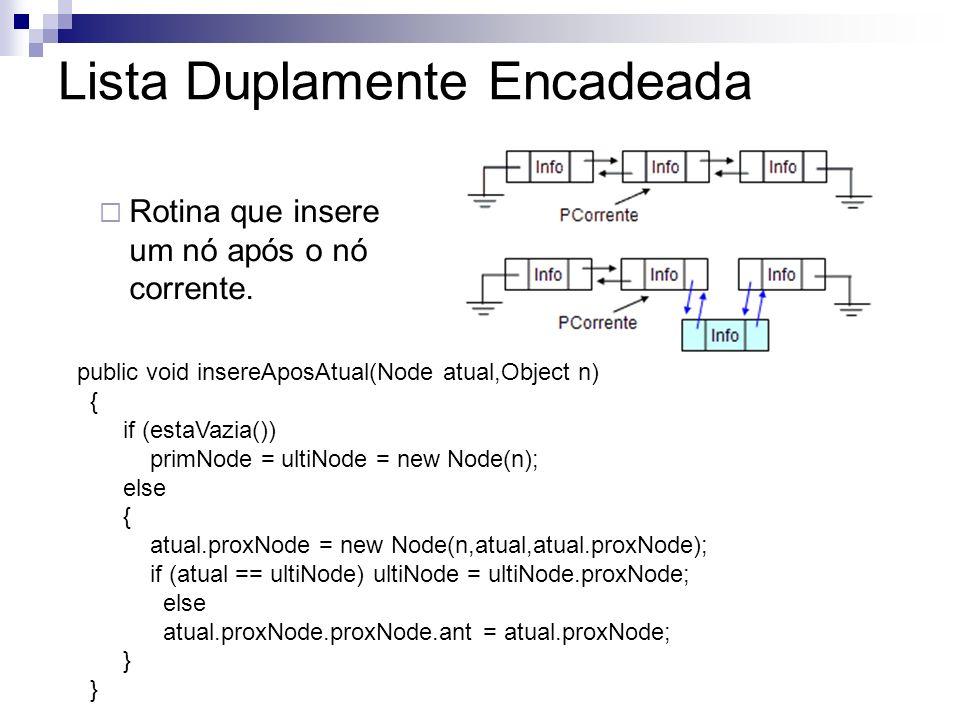 Rotina que insere um nó após o nó corrente. public void insereAposAtual(Node atual,Object n) { if (estaVazia()) primNode = ultiNode = new Node(n); els