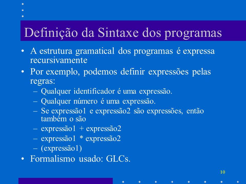 10 Definição da Sintaxe dos programas A estrutura gramatical dos programas é expressa recursivamente Por exemplo, podemos definir expressões pelas reg