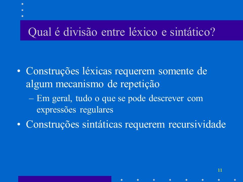 11 Qual é divisão entre léxico e sintático? Construções léxicas requerem somente de algum mecanismo de repetição –Em geral, tudo o que se pode descrev