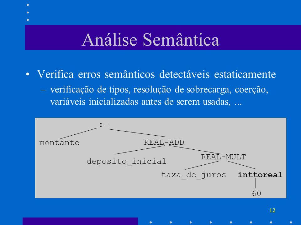12 Análise Semântica Verifica erros semânticos detectáveis estaticamente –verificação de tipos, resolução de sobrecarga, coerção, variáveis inicializa