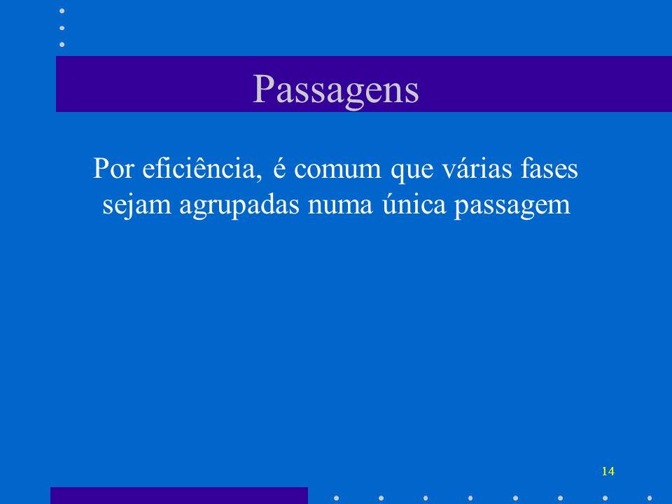 14 Passagens Por eficiência, é comum que várias fases sejam agrupadas numa única passagem