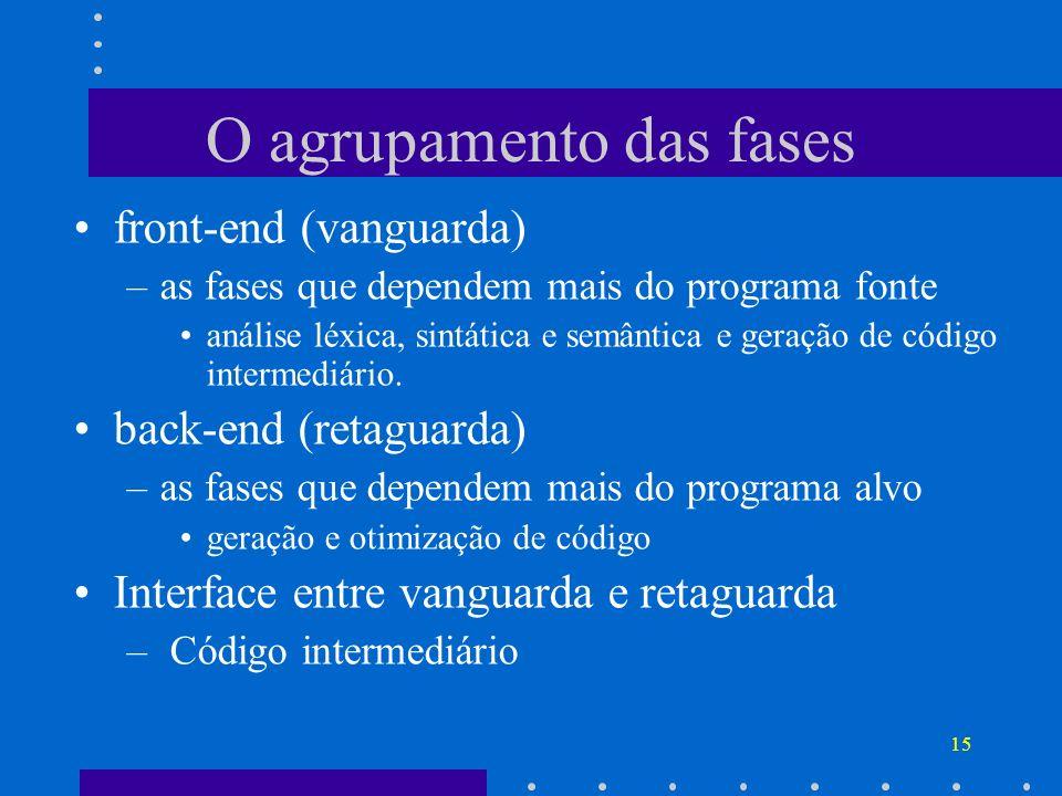 15 O agrupamento das fases front-end (vanguarda) –as fases que dependem mais do programa fonte análise léxica, sintática e semântica e geração de códi
