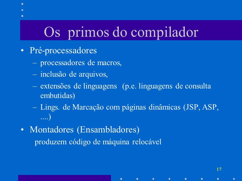 17 Os primos do compilador Pré-processadores –processadores de macros, –inclusão de arquivos, –extensões de linguagens (p.e. linguagens de consulta em