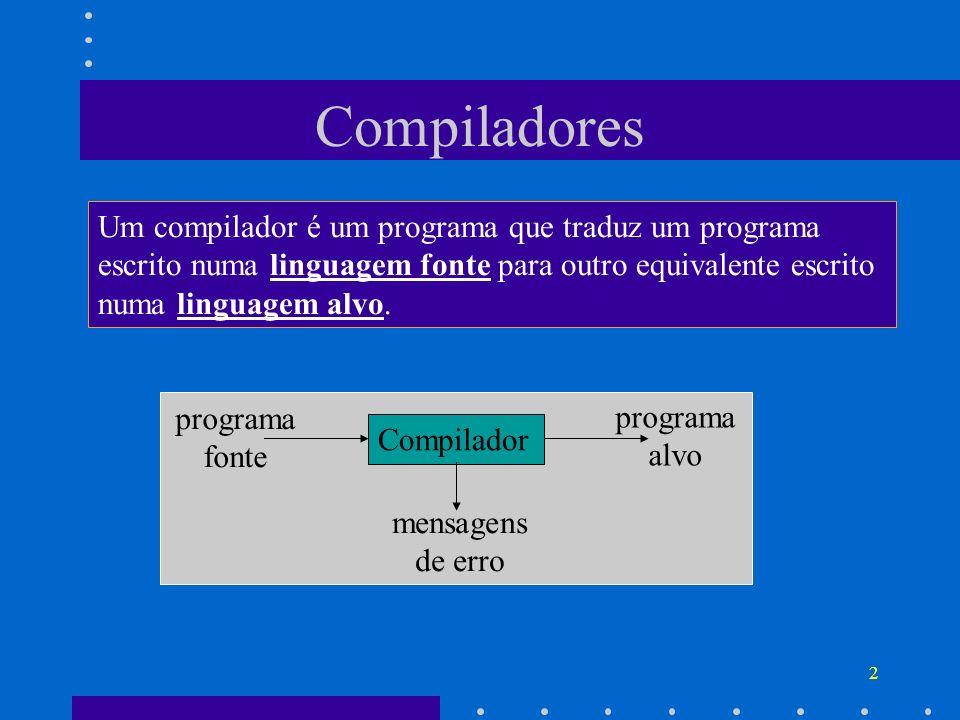 2 Compiladores Um compilador é um programa que traduz um programa escrito numa linguagem fonte para outro equivalente escrito numa linguagem alvo. Com
