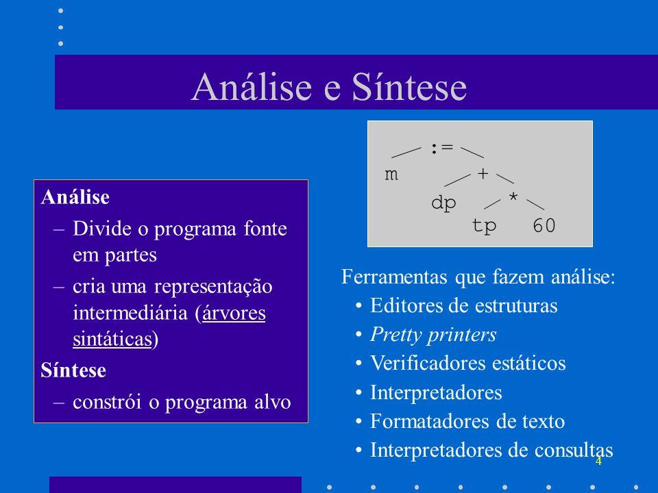 4 Análise e Síntese Análise –Divide o programa fonte em partes –cria uma representação intermediária (árvores sintáticas) Síntese –constrói o programa