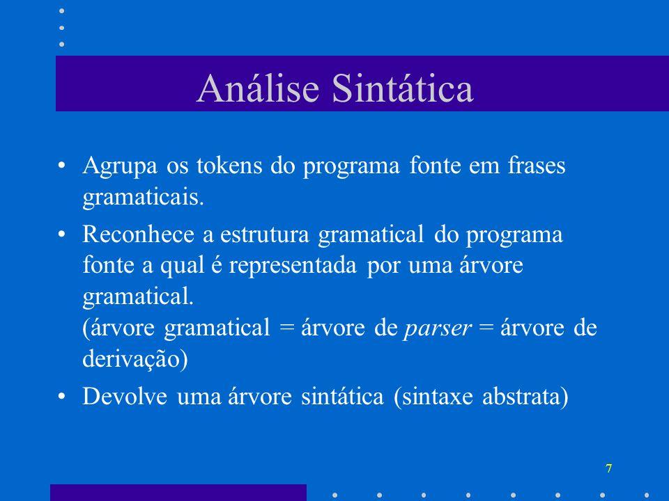 7 Análise Sintática Agrupa os tokens do programa fonte em frases gramaticais. Reconhece a estrutura gramatical do programa fonte a qual é representada