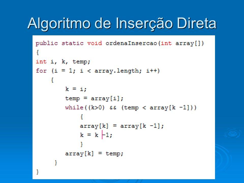Algoritmo de Inserção Direta