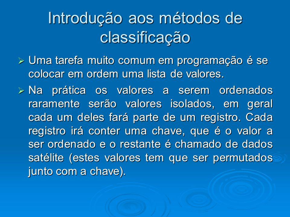 Introdução aos métodos de classificação Uma tarefa muito comum em programação é se colocar em ordem uma lista de valores.