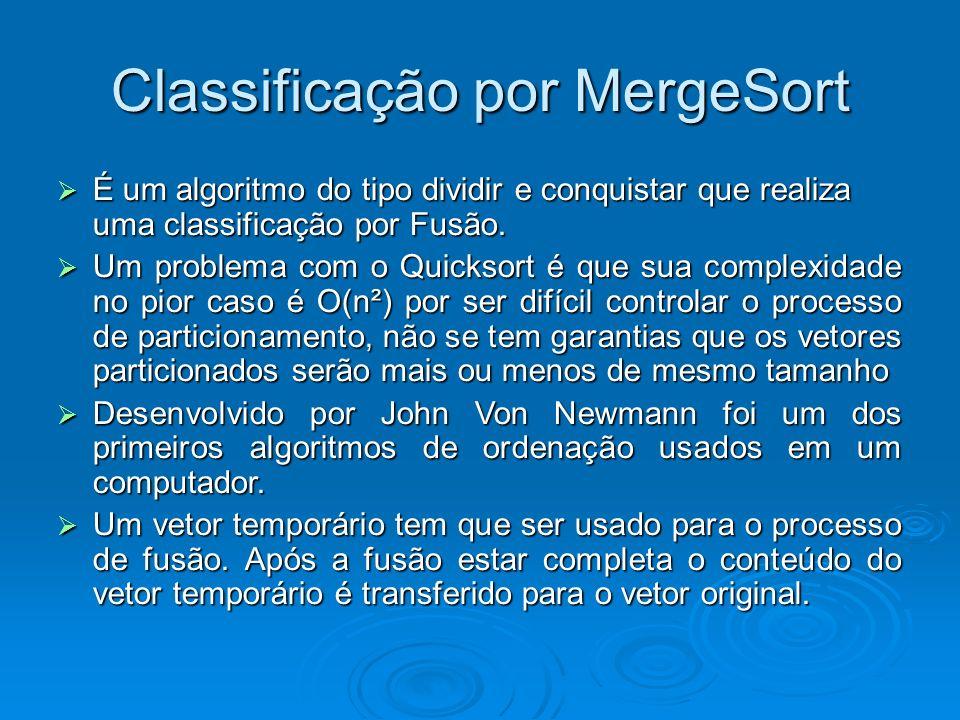 Classificação por MergeSort É um algoritmo do tipo dividir e conquistar que realiza uma classificação por Fusão. É um algoritmo do tipo dividir e conq